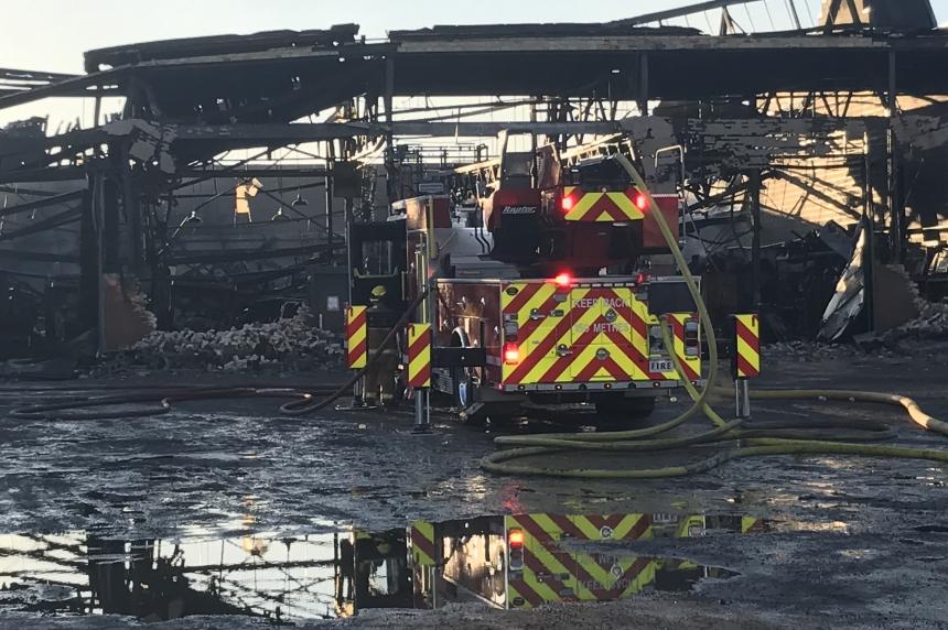 Massive flames destroy part of old GM plant in Regina