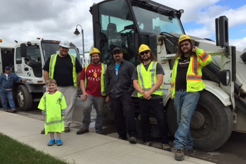 'This is the best day of my entire life, ever,'  Saskatoon boy thrilled to meet city crew