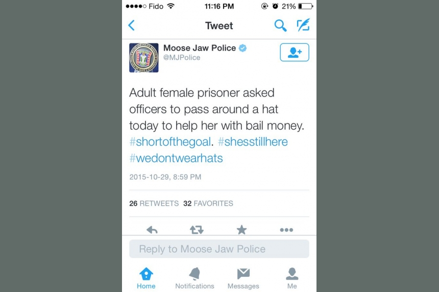 Moose Jaw police apologize for tweet about female prisoner