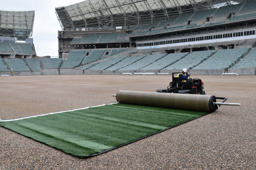 Rolling out the green: turf installation starts at new Mosaic Stadium