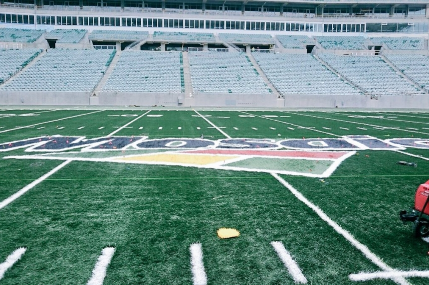Turf laid out but not complete at new Mosaic Stadium