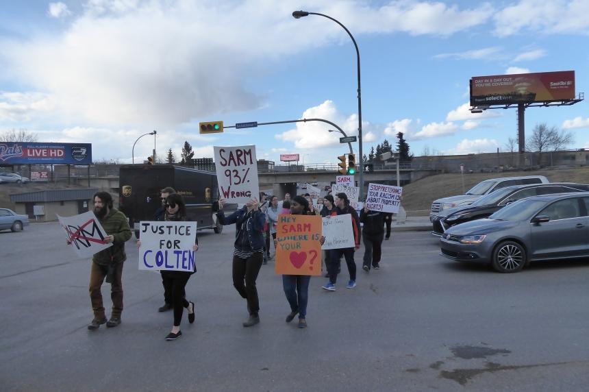 Dozens rally in Regina against SARM Resolution, supporting Colten Boushie