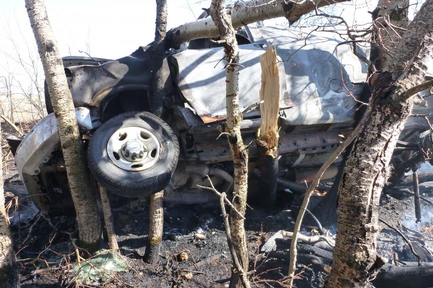 70-year-old woman dies in fiery crash off Highway 22