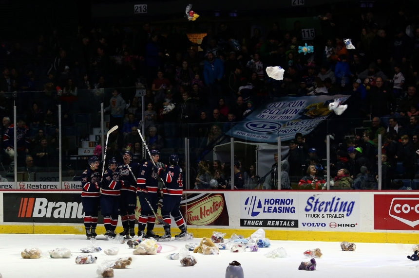 Riley Woods sends teddy bears flying as Pats rout Broncos 8-1
