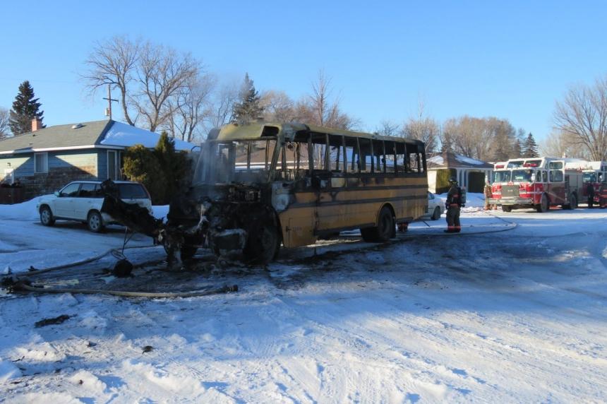 'Like campfire flames, but bigger:' School bus catches fire in Saskatoon neighbourhood