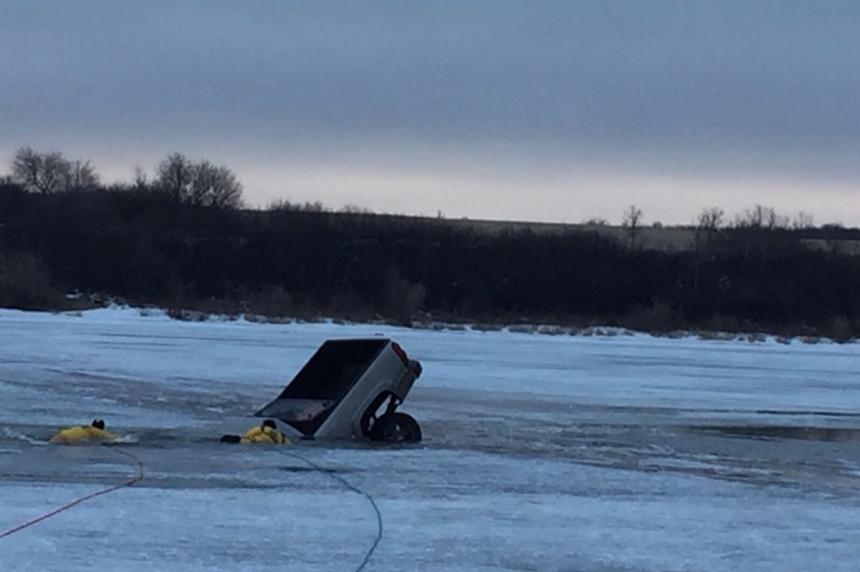 Vehicle goes through ice at Clarkboro Ferry