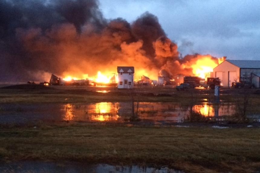 PHOTOS: Fire destroys building in Regina Beach