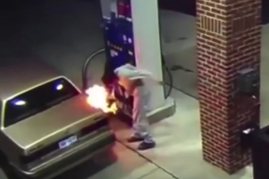 VIDEO: Man's use of lighter to burn spider near fuel door leads to fire at Detroit-area gas station