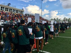 More than 5,000 people gathered at Liebel Field for the Saskatchewan First Nations Summer Games opening ceremonies Aug. 6, 2017. (Jessie Anton/980 CJME)
