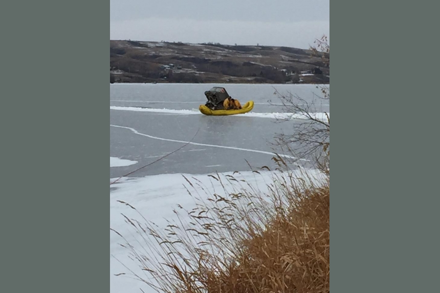 2 men taken to hospital after truck breaks through ice on Sask. lake