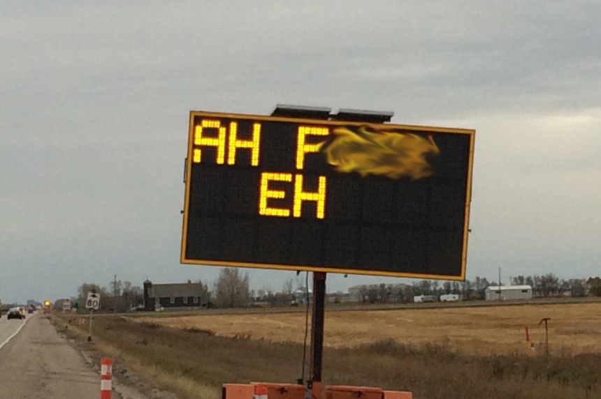 UPDATE: Construction sign altered south of Regina