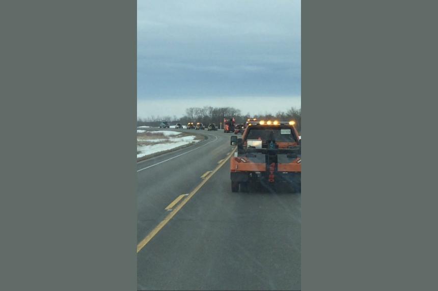 Dozens of tow trucks show respect to fallen driver near Yorkton