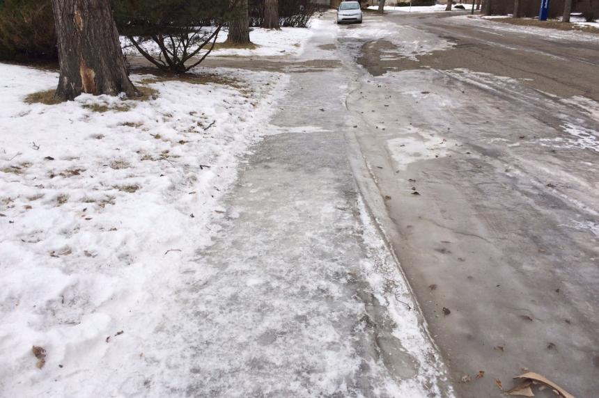 Some slippery sidewalks in Regina immune to warm weather
