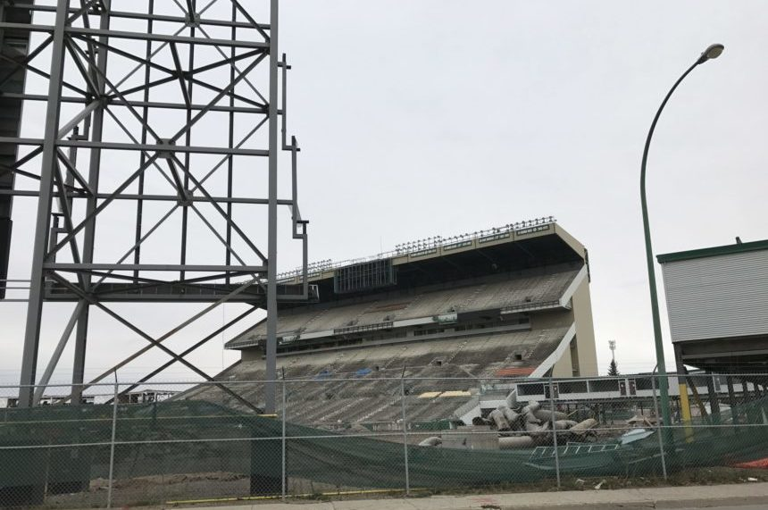 Demolition continues at Taylor Field on Sept. 22, 2017. (Lauren Golosky/980 CJME)