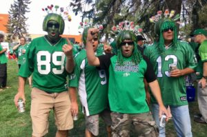 Ken Meraw (far left) and his friends traveled from Red Deer, Alta. to attend the Labour Day Classic at the new Mosaic Stadium Sept. 3, 2017. (Jessie Anton/980 CJME)