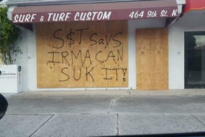 A surf shop in Naples, Fla. boarded up its windows before people evacuated the community Sept. 8, 2017. (Submitted by Bob Utigaard)