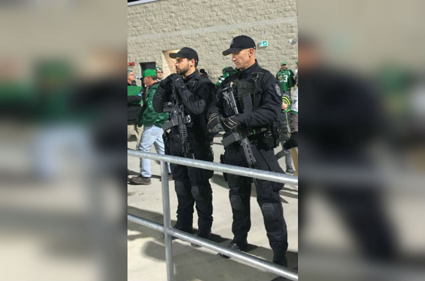 Armed officers at Mosaic Stadium a surprise to some fans