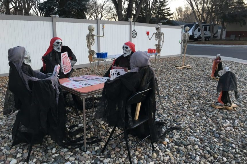 """Ghosts, Ghouls and Games"" is the theme of the Wihlidals 2017 Halloween display. (Jessie Anton/980 CJME)"