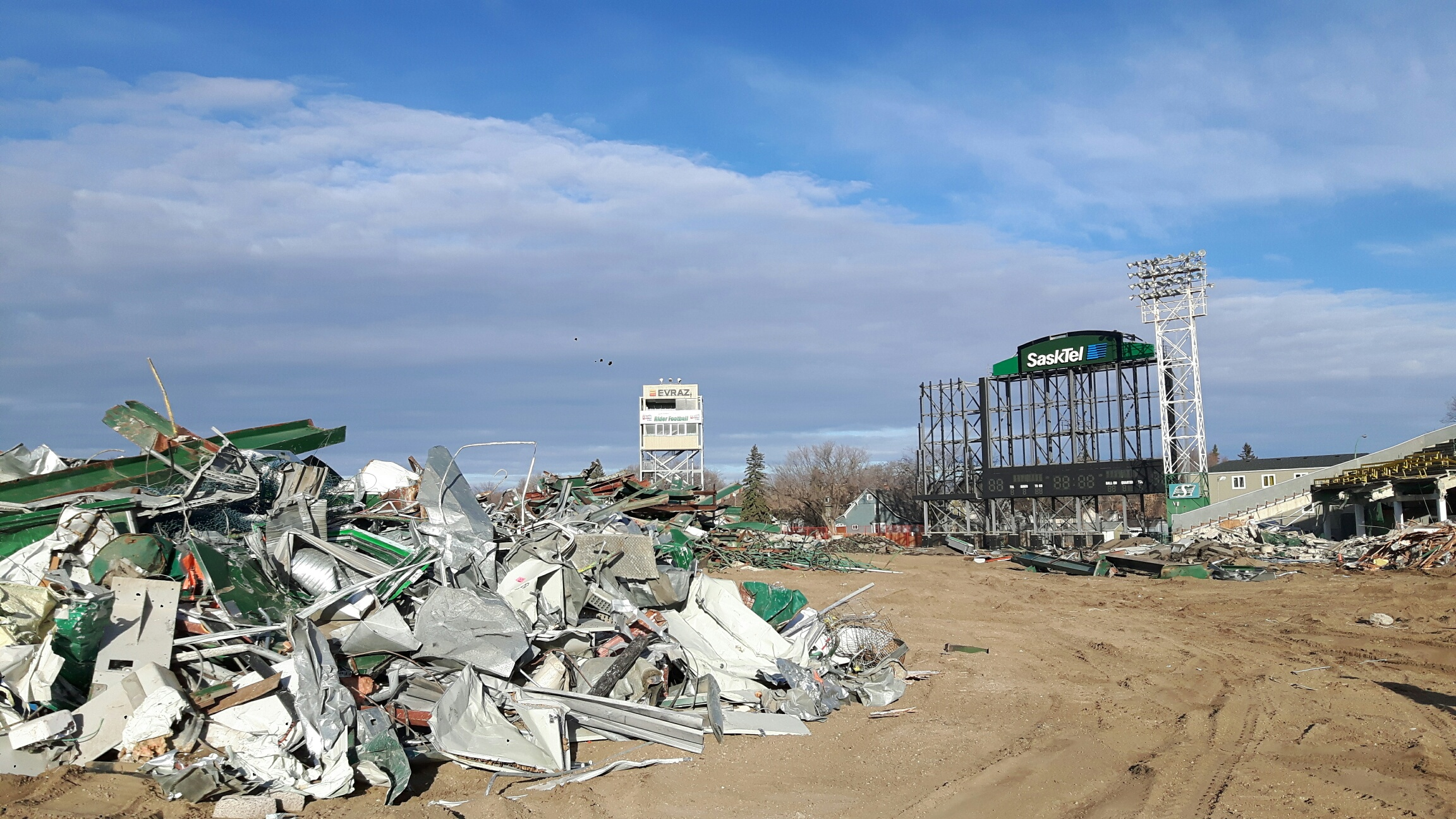 View of north end zone and former max tron during demolition of old Mosaic Stadium Oct. 24, 2017. (Adriana Christianson/980 CJME)