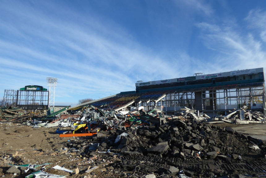 East side grandstand during Mosaic Stadium demolition Oct. 24, 2017. (Adriana Christianson/980 CJME)