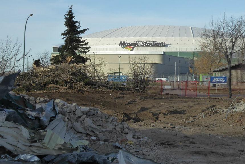 View of new Mosaic Stadium from demolition zone of old stadium Oct. 24, 2017. (Adriana Christianson/980 CJME)
