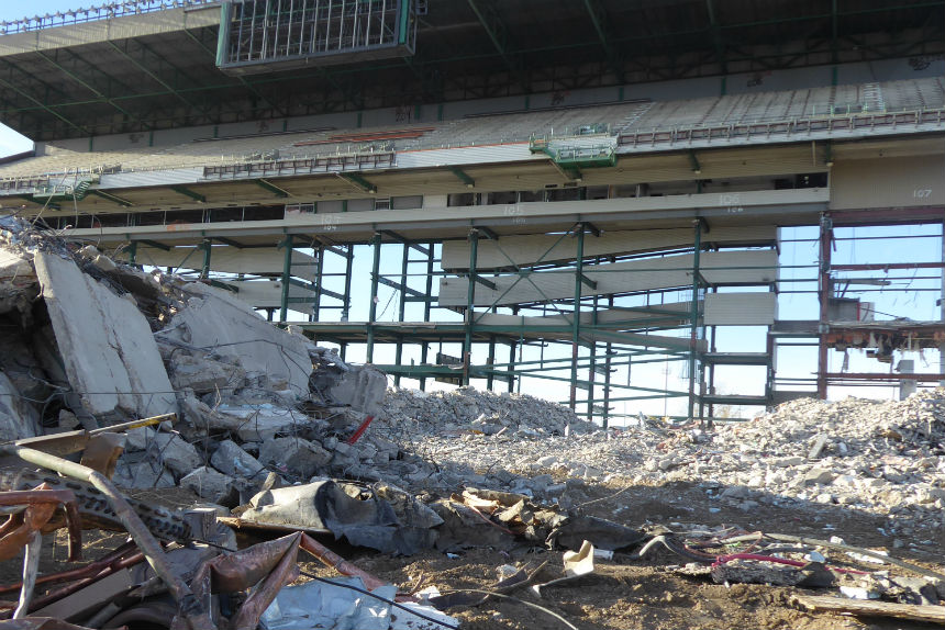 View of the west grandstand between concrete and scrap metal. (Adriana Christianson/980 CJME)