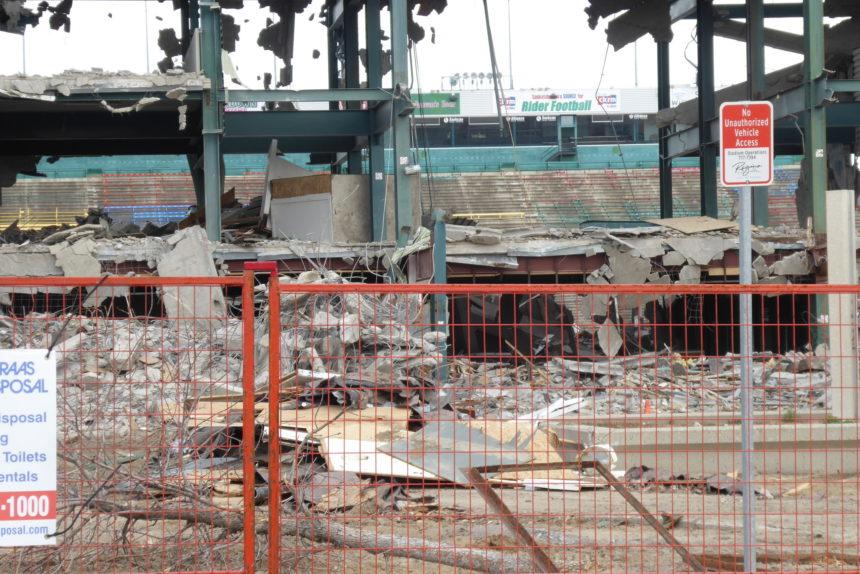 Demolition continues at old Mosaic Stadium on Oct. 10, 2017. (Britton Gray/980 CJME)