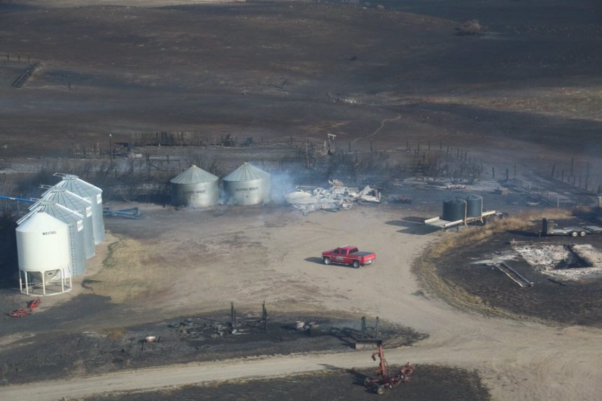 Aerial view of a farmyard north of the Village of Empress damaged in the wildfire Oct. 18 2017. (Jenny Hagen/Twitter)