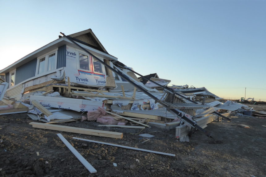 This house under construction in Harbour Landing was knocked down in the wind storm Oct. 18 2017. (Kevin Martel/980 CJME)