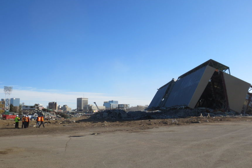 A changed skyline in Regina after west grandstand collapse at Taylor Field Oct. 27, 2017. (Lisa Schick/980 CJME)
