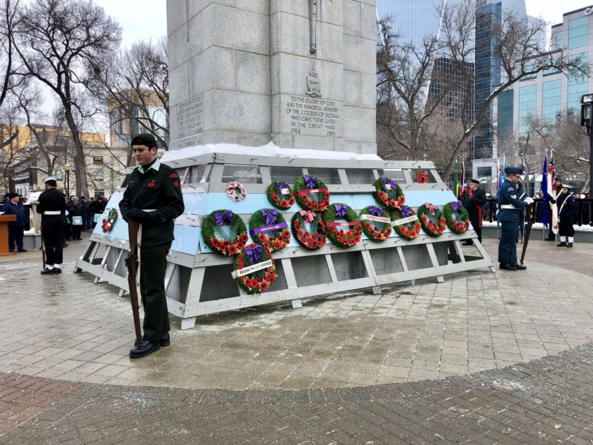 Cadets take their posts beside the Cenotaph in Regina's Victoria Park at the Remembrance Day service Nov. 11, 2017. (Jessie Anton/980 CJME)