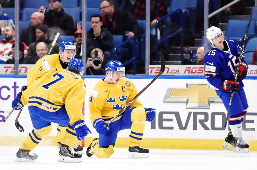 Steen, Jonsson Fjallby score short-handed goals to lead Sweden past U.S. 4-2.