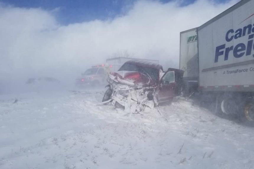 Six vehicle pileup near Belle Plaine captured on video