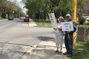 Protesting trees cut down in Wascana Park