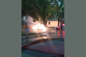 Dave MacIntosh told 650 CKOM he heard a loud crack and then witnessed lightning hit power lines on the corner of Taylor Street E and Sommerfeld Avenue on July 10, 2017. (Dave MacIntosh)