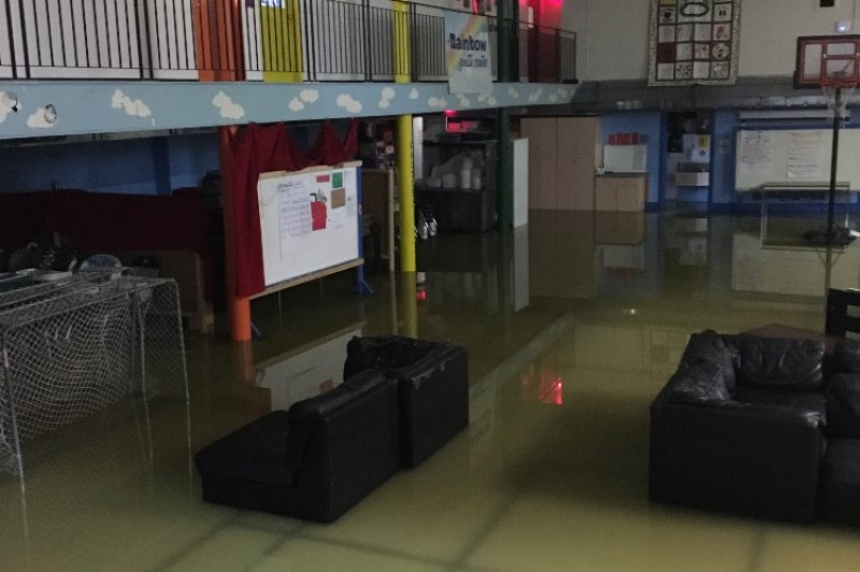 Rainbow Youth Centre gym floor damaged by severe flooding