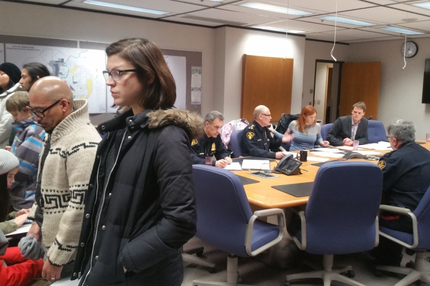 Protestors demonstrate against Saskatoon police at commissioners' meeting