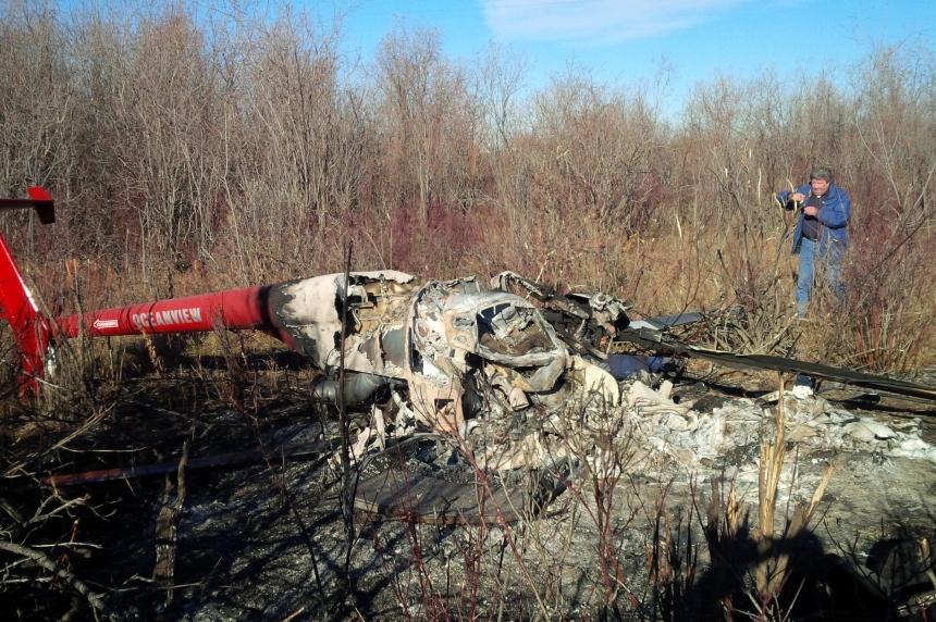 Transportation Safety Board on scene of fatal helicopter crash near Paynton