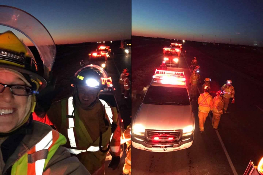 Emergency crews light up the night to remind drivers to slow down