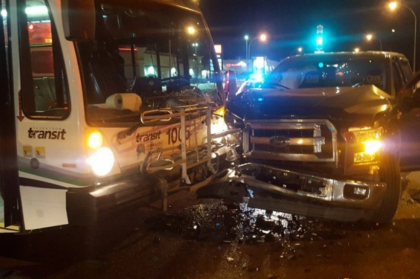 City bus and pickup truck collide during morning commute