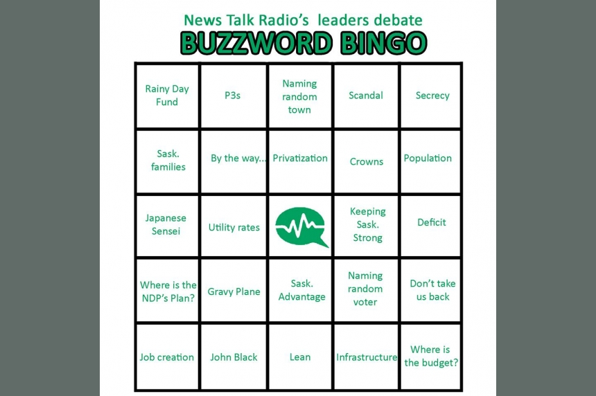 Play along with Buzzword Bingo for the Sask. leaders' debate