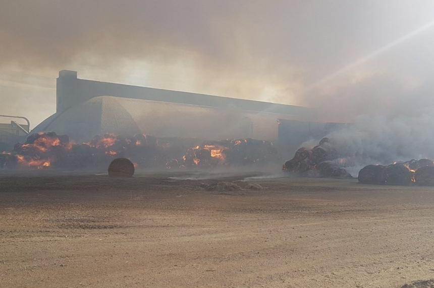 Crews fight large grass fire near Outlook