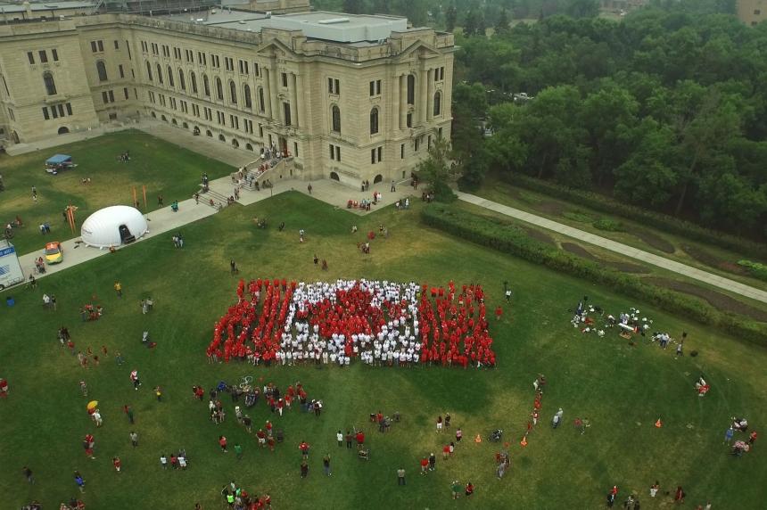 Living Canadian flag created in Regina