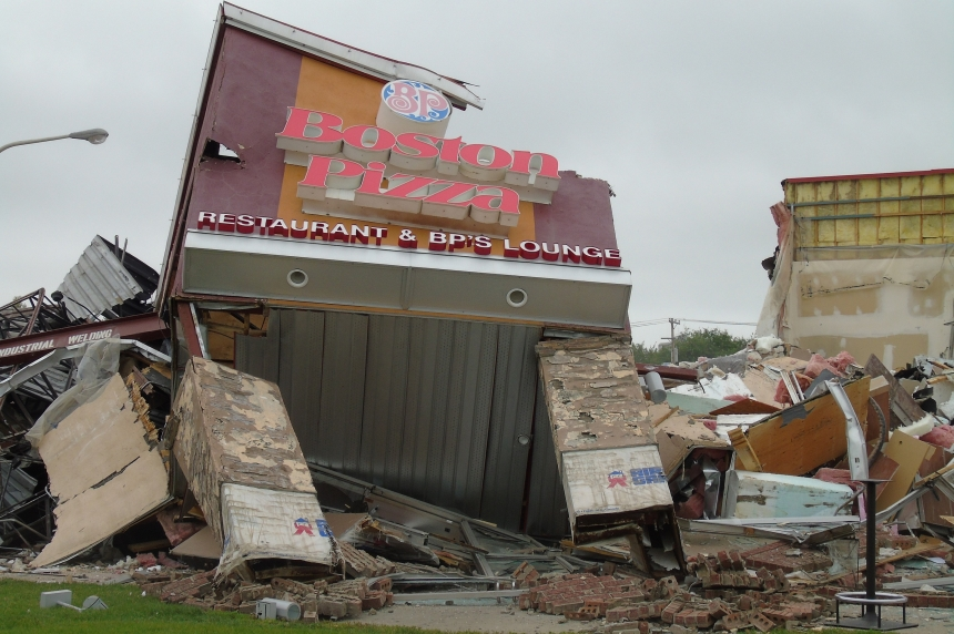 PHOTOS: Demolition paves way for new Boston Pizza in Saskatoon