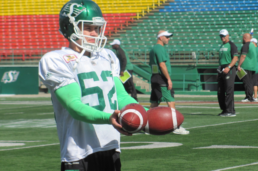 Long snapper Dan MacDonald settling in with the Roughriders