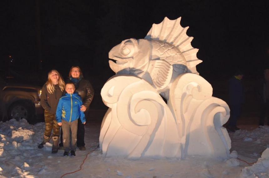 Snow sculpture pays tribute to Yorkton father