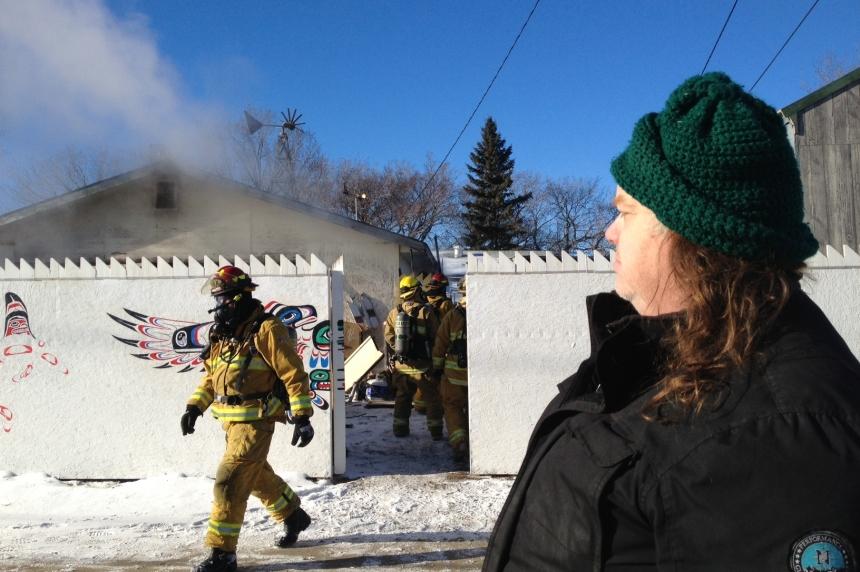 Regina man watches workshop burn