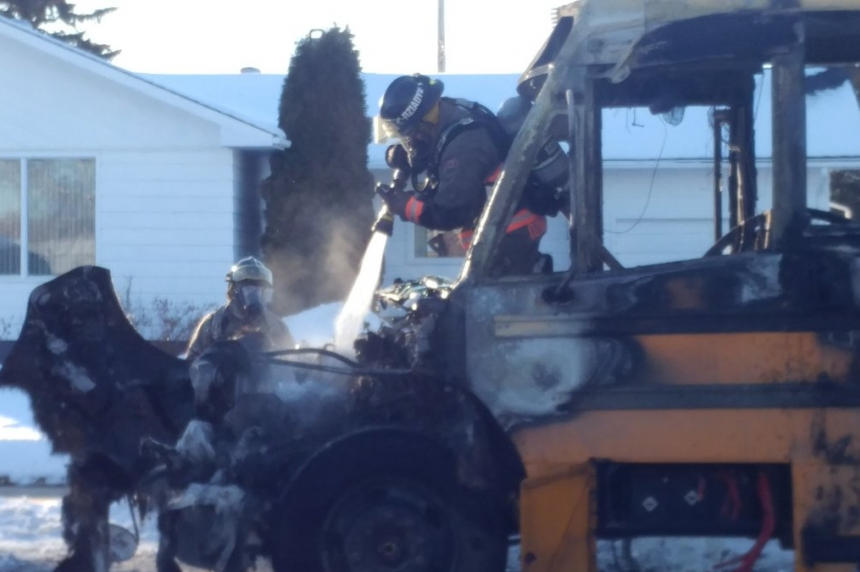 'Like campfire flames, but bigger:' School bus catches fire in Saskatoon neighbourhood
