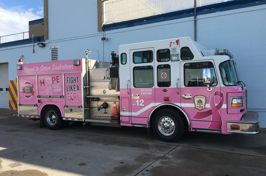 Saskatoon's 1st pink fire truck to help C95 Radio Marathon for Breast Cancer Research