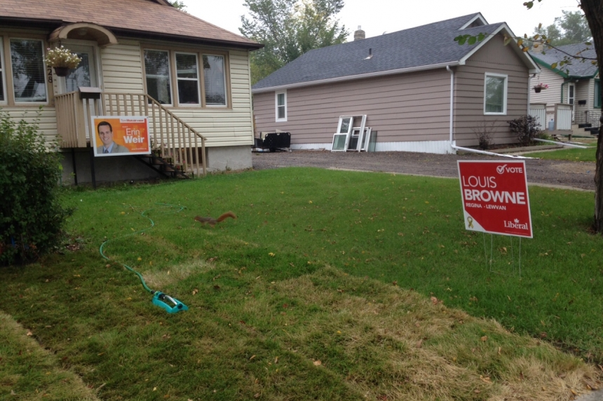 Regina households divided: election candidates signs battle for lawn dominance